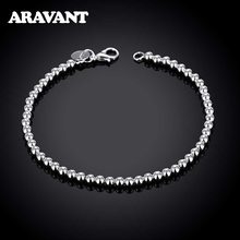 Silver Bracelets Wedding-Jewelry Fashion Women 4mm Smooth-Beads