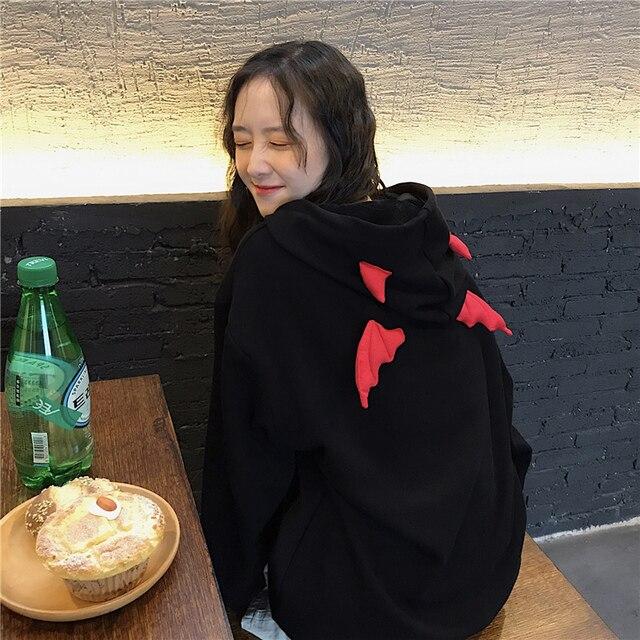 Devil Horn Hoodie Streetwear Devil Hoodie Gothic Hooded Hoody Women Loose Black Hooded Pollovers Sweatshirts Oversized Harajuku 10