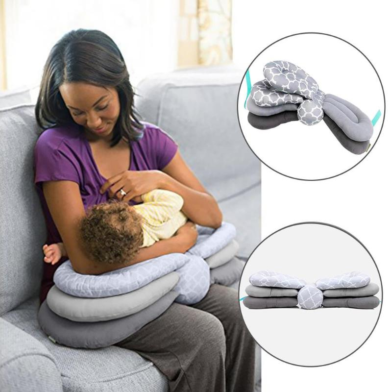 Multifunction Nursing Pillow Adjustable Infant Feeding Baby Bedding Accessories Grey Blue And Pink Multi-color 70x26x17cm