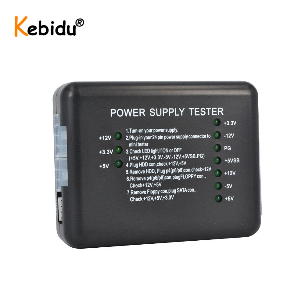 Pomya Power Supply Tester Checker for Computer 20//24 Pin HDD SATA Floppy for Any Computer Technician