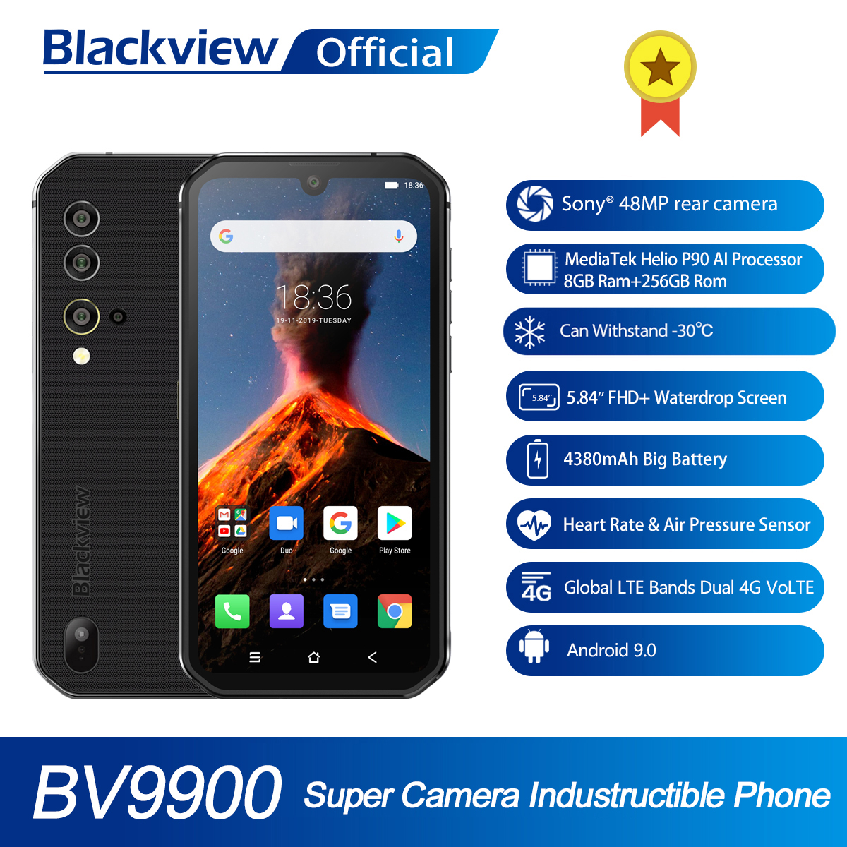 Blackview BV9900 Helio P90 Octa Core 8GB 256GB 5.84 FHD+ IP68 Waterproof Rugged Smartphone 4380mAh 48MP Quad Rear Camera PhoneCellphones   -