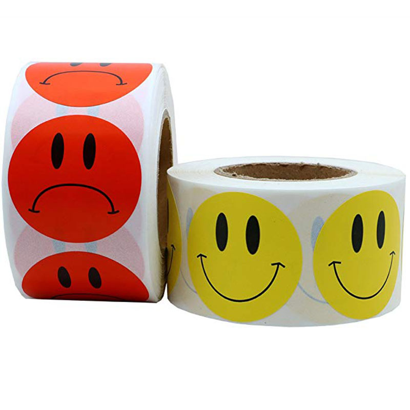 500pcs Smile Yellow Face And Red Sad Face Stickers 1 Inch Round  Per Roll For School Teacher Kids Reward Sticker Decal