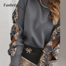 Tops Shirt Pullover Autumn Blouse Sequin Blusa Patchwork Long-Sleeve O-Neck Elegant Office Lady