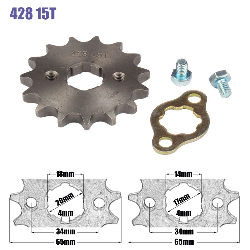 428 Chain 15T 17mm 20mm Front Engine Sprocket For 50cc to <font><b>125cc</b></font> Dirt Bike ATV Go Kart Quad <font><b>Pitbike</b></font> Buggy Motorcycle image