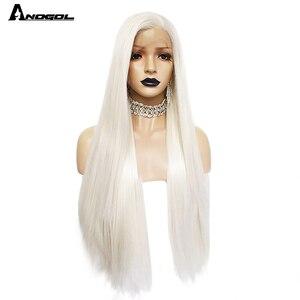 Image 5 - Anogol פלטינה בלונדינית טבעי שיער פאות 613 ארוך משיי ישר סינטטי תחרה מול פאה עבור לבן נשים