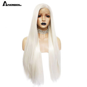Image 5 - Anogol Platinumสีบลอนด์ธรรมชาติWigs 613ยาวSilkyตรงวิกผมลูกไม้ด้านหน้าด้านหน้าสำหรับผู้หญิงสีขาว