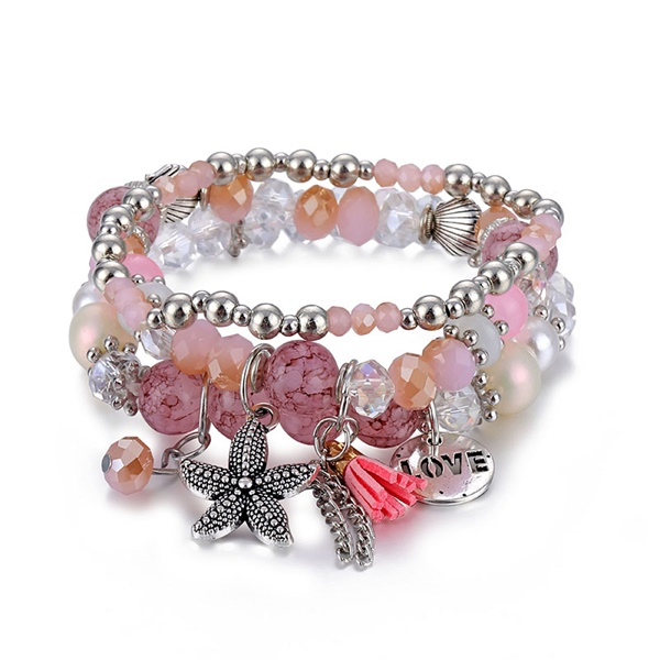 Классический Набор браслетов «Древо жизни» для женщин, многослойный винтажный браслет из натурального камня в виде листьев, браслеты и браслеты, ювелирные изделия, подарки - Окраска металла: 6583