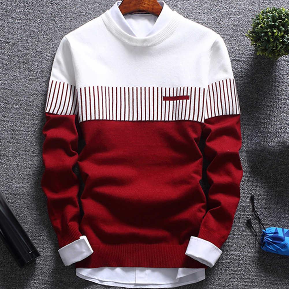 뜨거운 패션 남자 컬러 블록 패치 워크 오 넥 긴 소매 니트 스웨터 탑 블라우스 폴리 에스터 스 판 덱 스 캐주얼 따뜻한 남자 스웨터