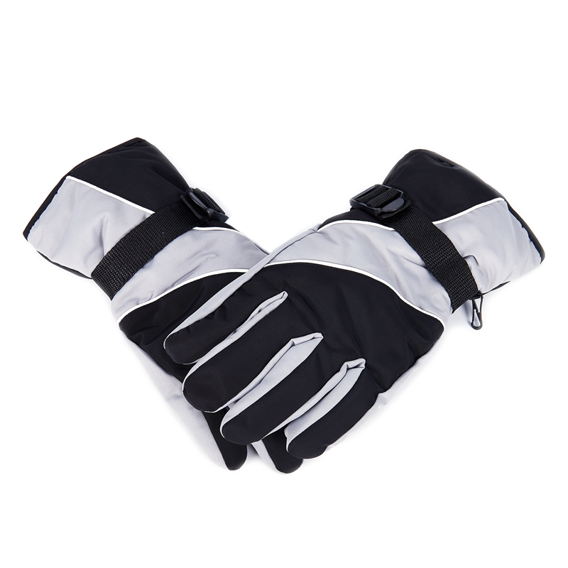 Snow Gloves Black and Grey Cold Weather Winter Sports Hiking Gloves by