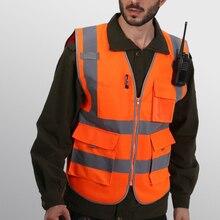 Высокая видимость светоотражающий Предупреждение жилет полосы куртка топы безопасности