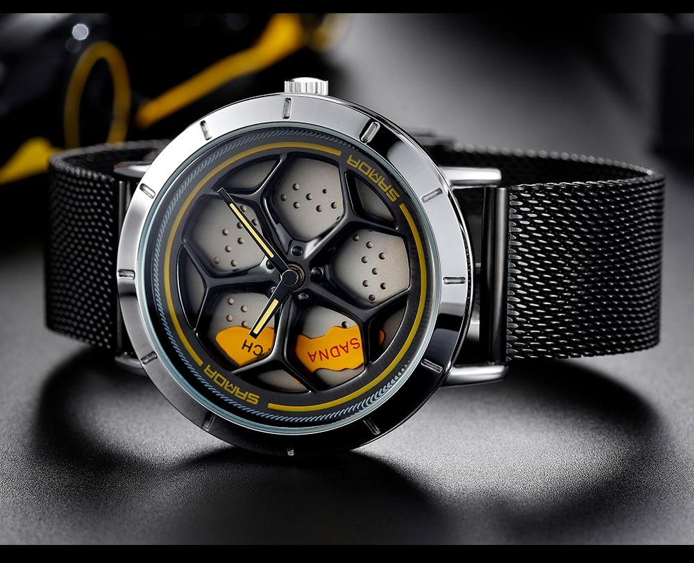 H96104b3748e44e8caa8c9c4674716987X Men's Watch 360 Degree Wheel Rotation Creative Quartz