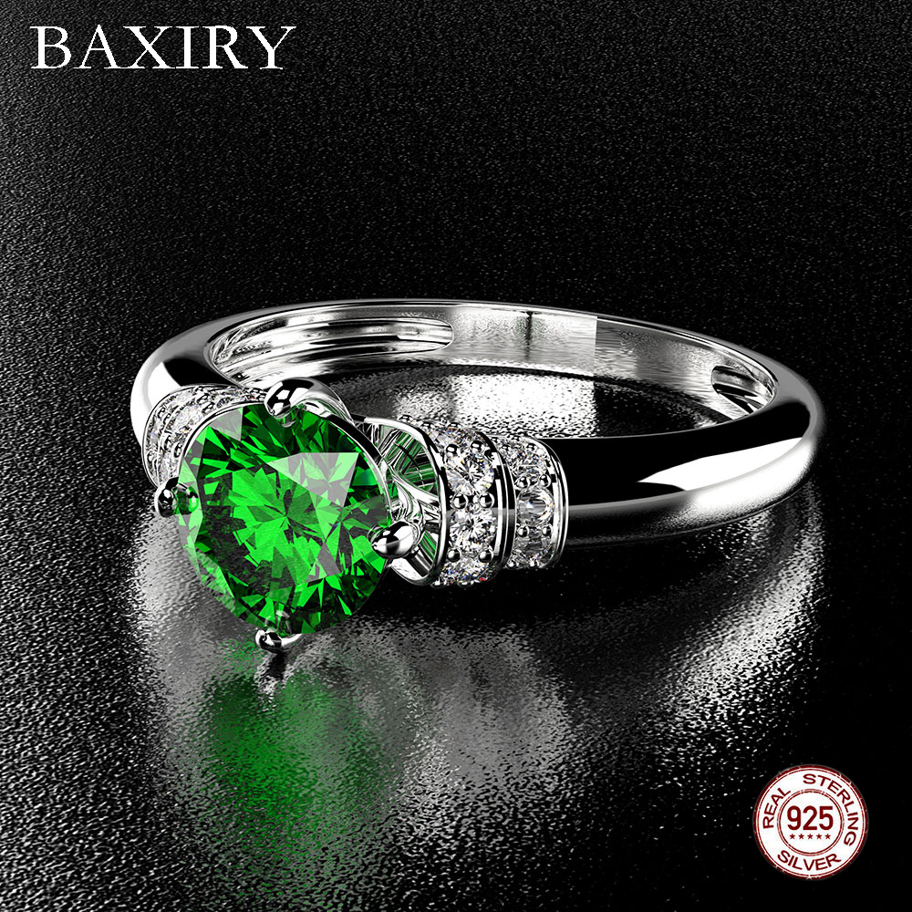 2019 New Trendy 925 Sterling Silver Gemstone Ring Amethyst Emerald Ring Natural For Jewelry Blue Sapphire Ring Engagement Party