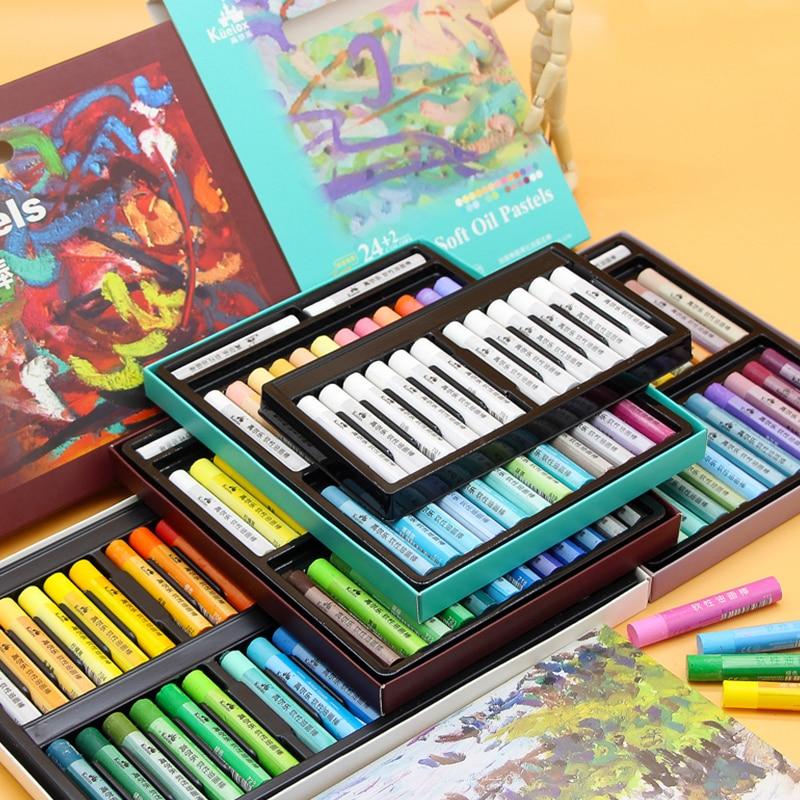 Kuelox Art Soft Oil Pastel/Crayon Macaron/Morandi/Artist Grade 12/24/36 Colors Water Soluble/Oily Graffiti Soft Pastel Painting