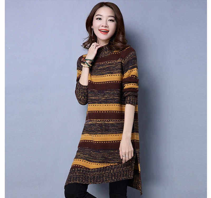 패션 2020 가을 겨울 뜨개질 스웨터 드레스 여성 터틀넥 스트라이프 풀 오버 캐주얼 여성 양모 스웨터 WXF582