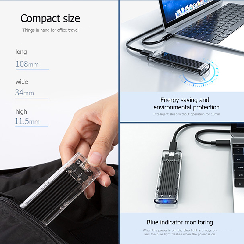lowest price ORICO M2 SSD Case M 2 NGFF to USB 3 1 Type C Transparent Hard Drive Enclosure SSD Enclosure For m 2 NGFF SATA B Key SSD Disk Box