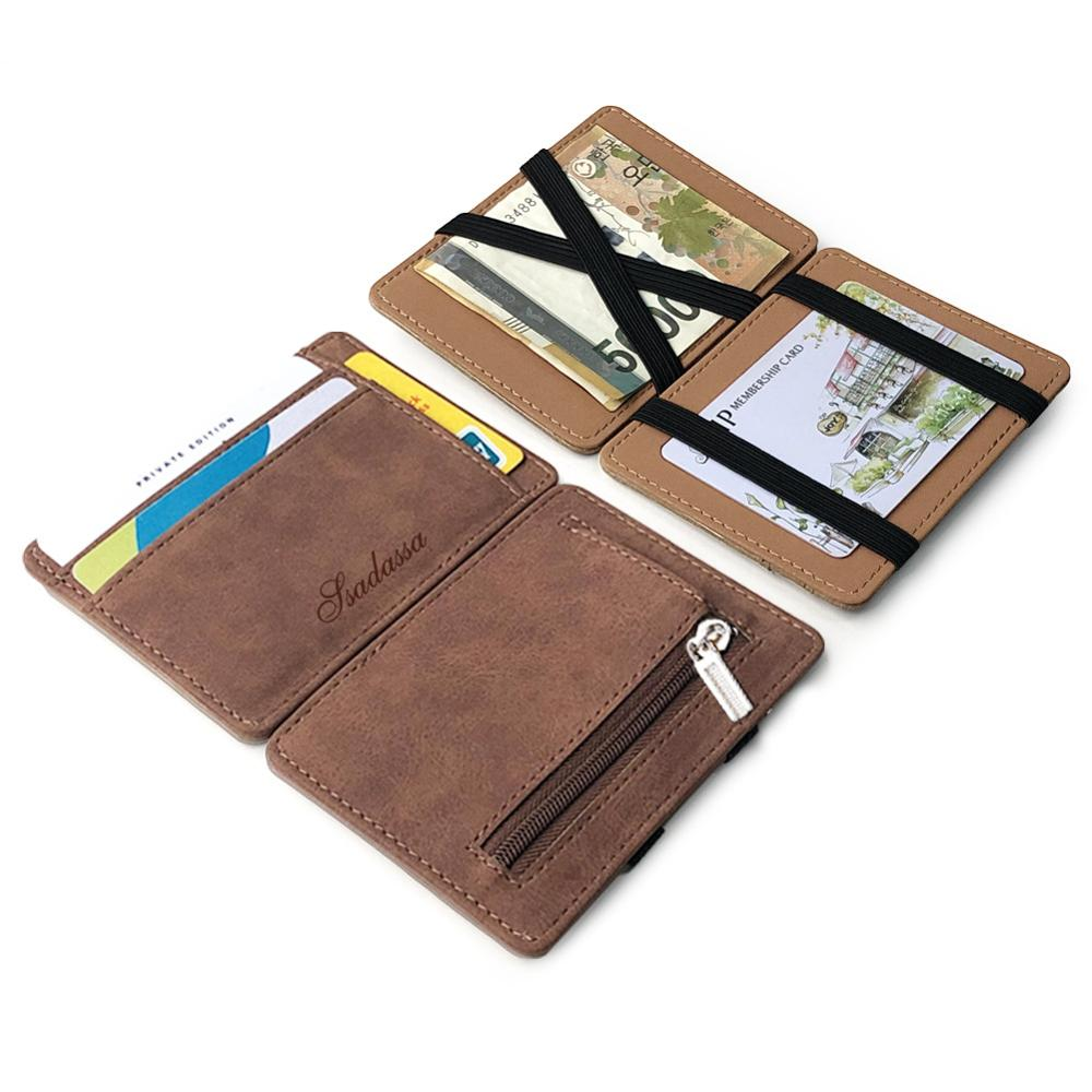 Magic Wallet Nubuck Leather Men's Coin Purse Credit Card Holder Wallets