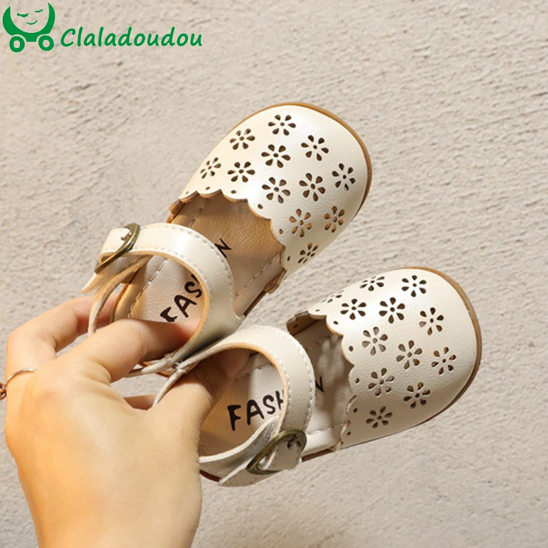 12-16cm Brand Toddler Girls Retro Pu Leather Shoes,Beige Hollow Princess Toddler Summer Sandals,Baby Girls First Walkers 0-3Year
