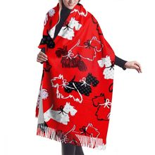 Cartoon Westie Print Bandana Autumn Winter Female Scarf Women Imitation Cashmere Long Shawl Wrap Blanket Warm Tassel Red Hijabs
