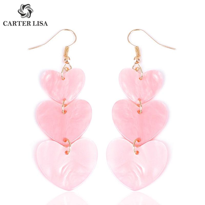 CARTER LISA Charms Kawaii Acrylic Pink Heart Drop Dangle Hook Earrings For Women Girl Cute Fashion Modern Jewelry Party Gifts