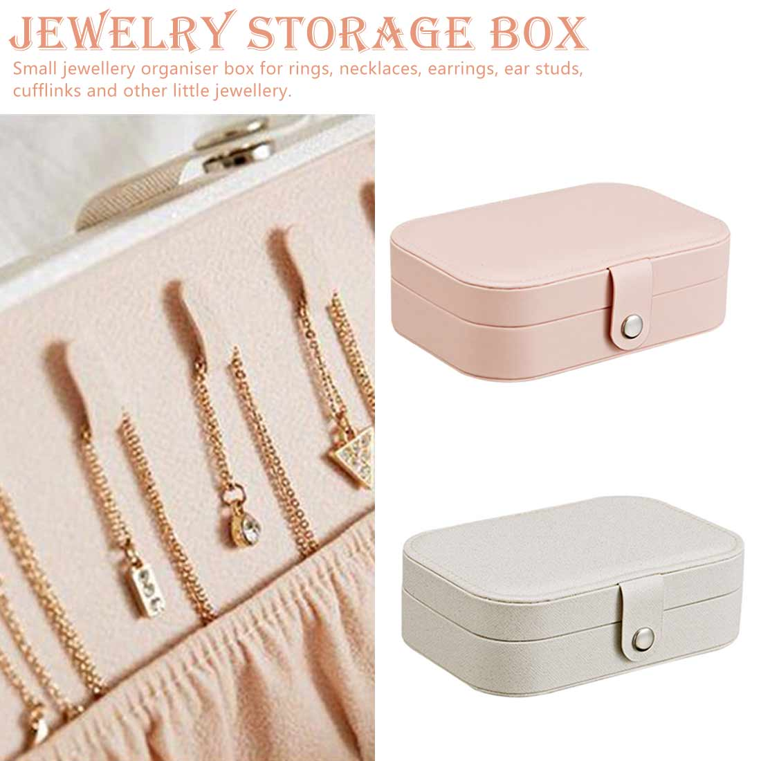 Jewelry Storage Box Women Travel Necklace Earrings Rings Jewelry Display Box Fresh And Simple Makeup Organizers