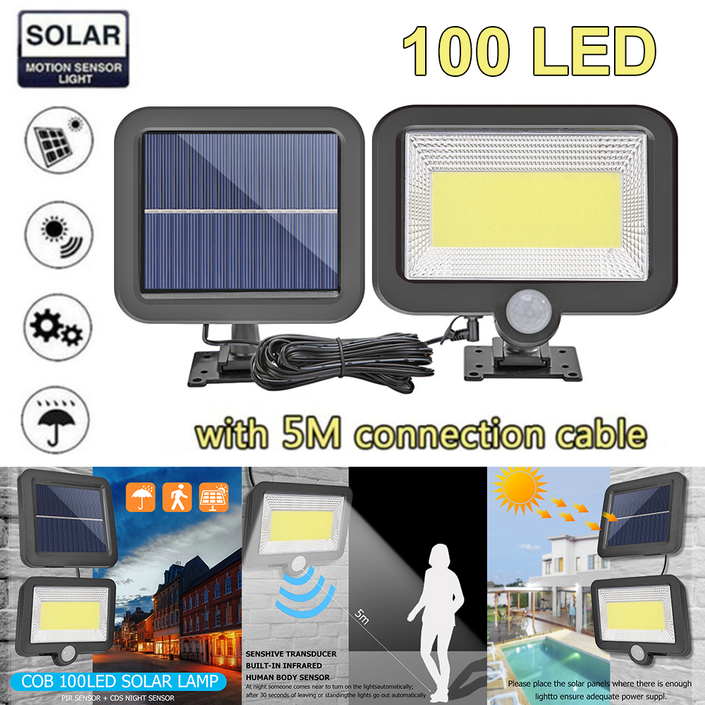 COB 100LED Solar Lamp Motion Sensor Waterproof Outdoor Path Night Lighting Infrarot Sensor Garden Light Support Dropship