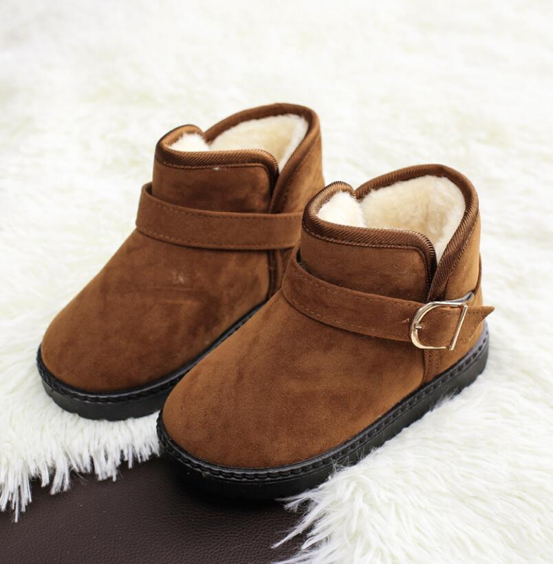 Kids Shoes 2020 Winter Fashion Boys Casual Snow Boots Girls Fur Sport Shoes for Children Shoes Baby Black Warm Booties(China)