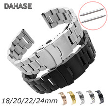 5Rows Watch Band 18mm 20mm 22mm 24mm Replacement Watch Strap Stainless Steel Double Lock Buckle Band Wristband Belt Bracelet