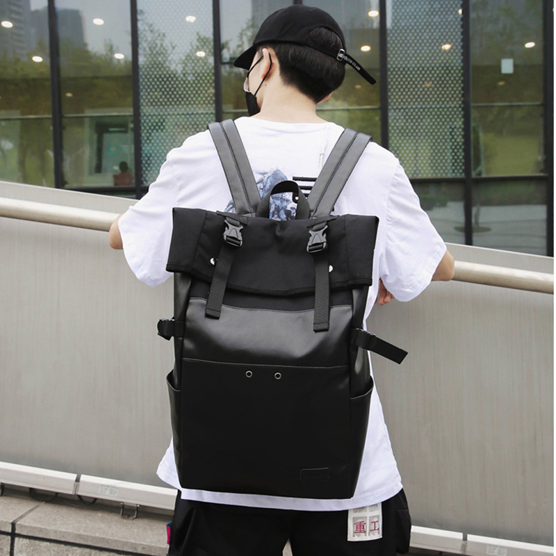 High Quality Oxford Waterproof <font><b>Backpack</b></font> Women Rolled School Bag for Teenage Girl Large-capacity Travel Bag Men <font><b>Backpacks</b></font> Satchel image