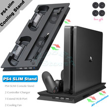 PS4 Slim Console Stand con Dispositivo di Raffreddamento Ventola Di Raffreddamento Gamepad del Caricatore di Ricarica Dock Station per Sony Playstation 4 Sottile PS 4 giochi(China)