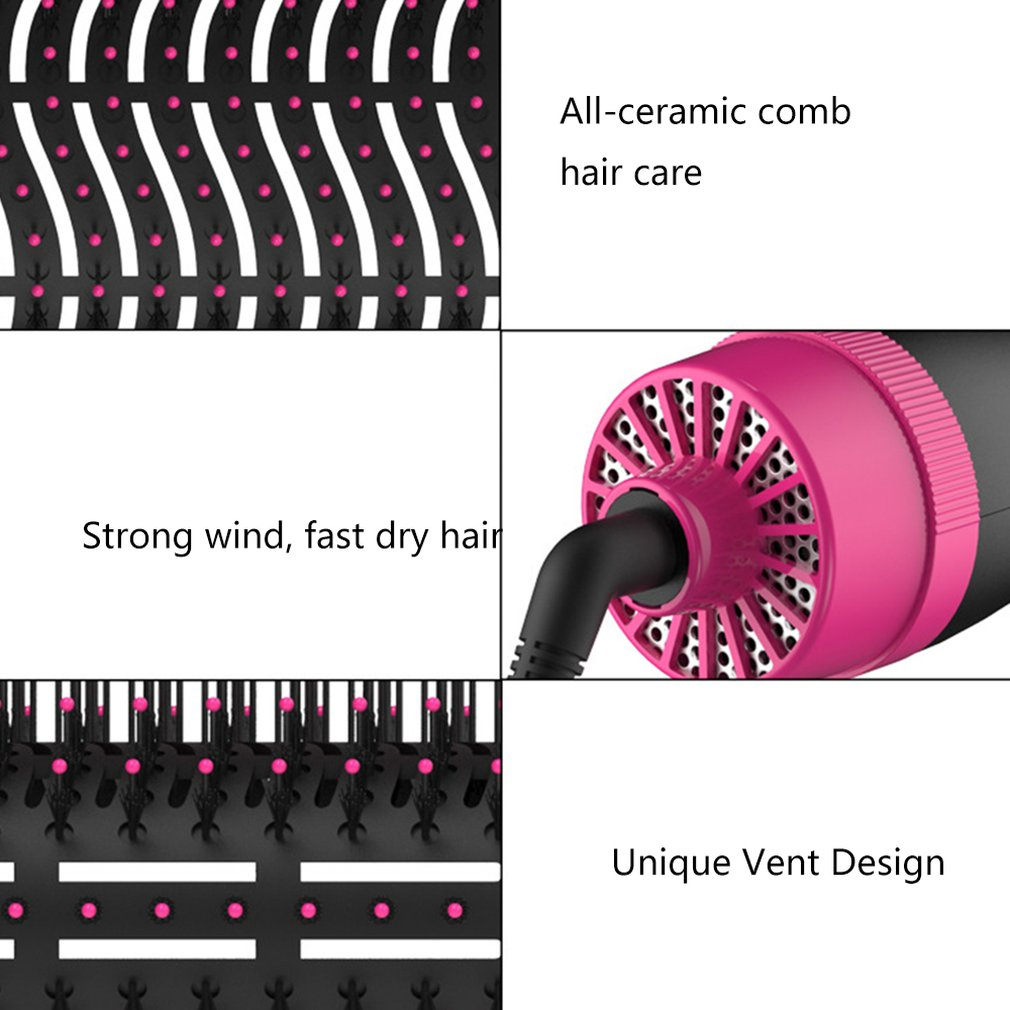 1000W Professional Hair Dryer Brush 2 In 1 Hair Straightener Curler Comb Electric Blow Dryer With Comb Hair Brush Roller Styler 2