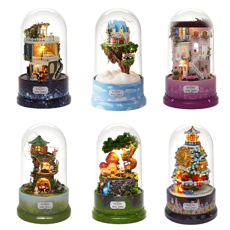 Кукольный домик «сделай сам», вращающаяся музыкальная шкатулка, миниатюрные сборные наборы, кукольный домик со строительными игрушками дл...