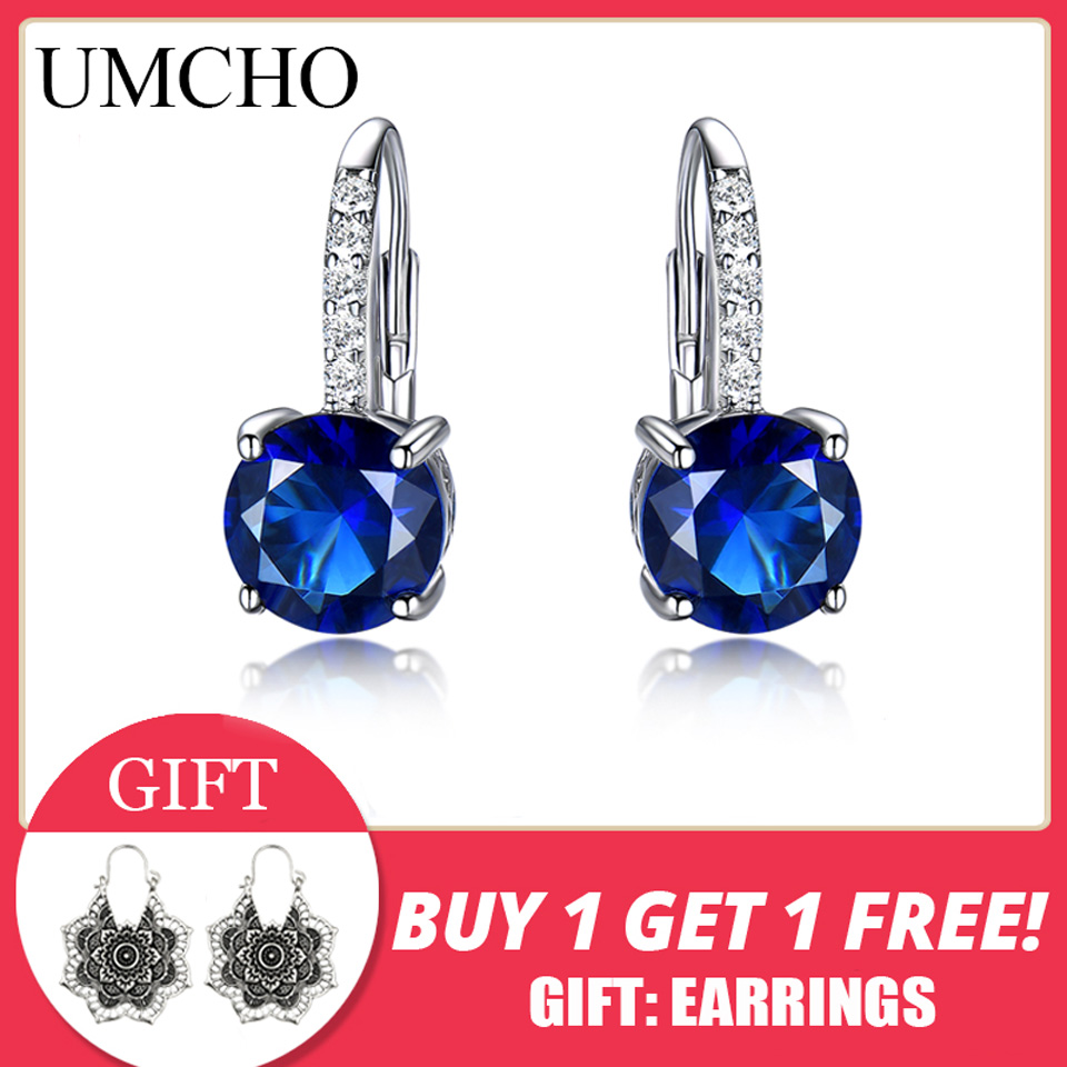 UMCHO 100 Real Silver 925 Jewelry Round Created Nano Sapphire Clip Earrings For Women Party Fashion UMCHO 100% Real Silver 925 Jewelry Round Created Nano Sapphire Clip Earrings For Women Party Fashion Gift Charms Fine Jewelry