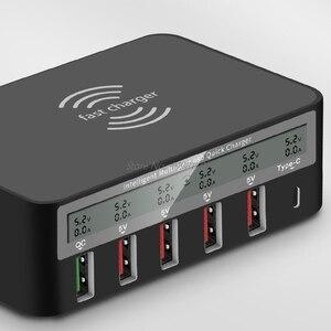 Image 3 - Универсальное беспроводное зарядное устройство Qi 7 в 1, 5x USB QC 3,0, быстрая зарядка, ЖК дисплей с отображением тока, для телефона, планшета, ПК