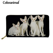 Coloranimal Dog Paw Pattern Leather Wallets Cornish Rex Cat PU Purses for Casual Women Shopping Clutch Bag Zipper Card Cases