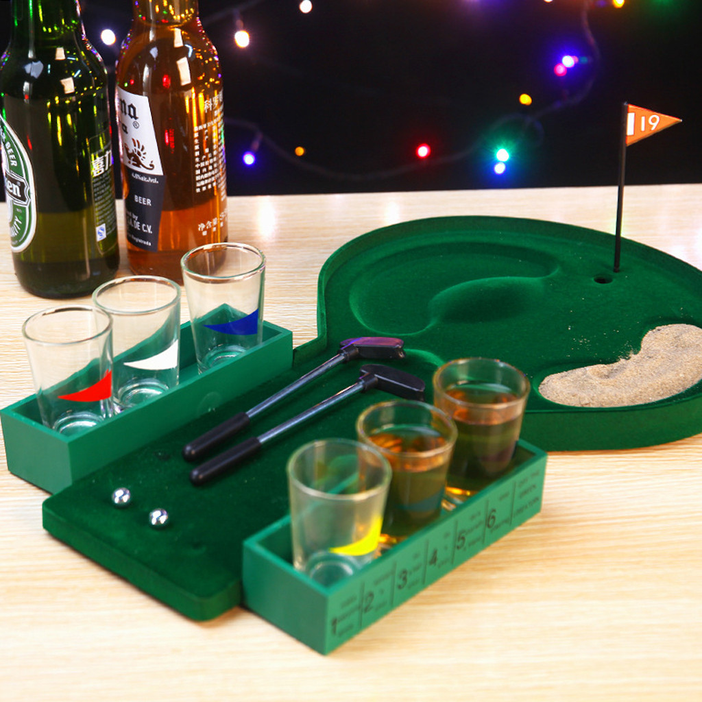 COMPUDA 19 Hole Mini Golf Drinking Shot Glass Game Putter Adult Party Play Fun Ball toys for children