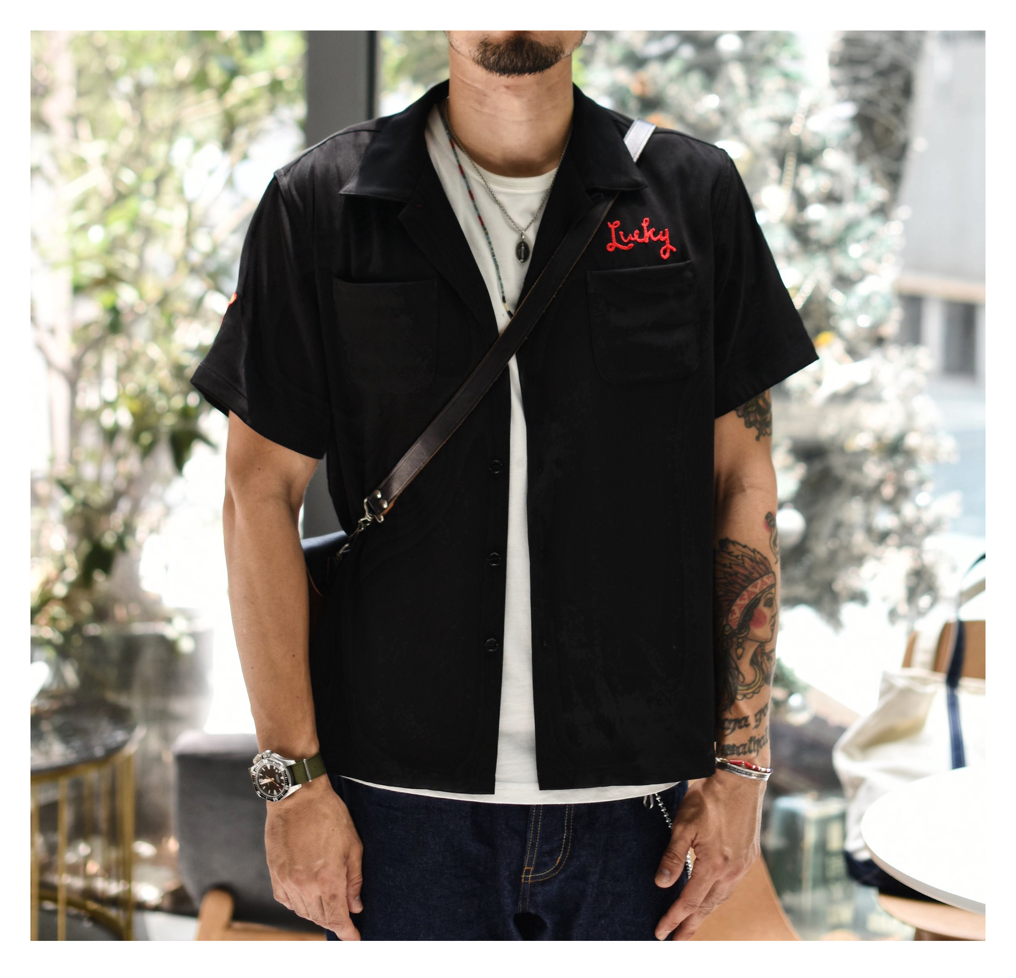 SauceZhan 50's American Bowling Shirt Shirt Men Vintage Casual Shirt for Summer Embroidery Black Breathable High Quality