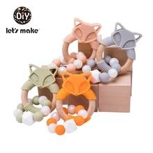 Lets Make 1pc Baby Wood Teether Cartoon Fox Food Grade Silicone Animal Beech Wooden Teething Ring Nursing Bracelet