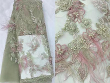 Luxury Seiko Hand applied Feather Embroidery French Mesh African Lace Fabric High end Dress, Wedding Dress, Evening Dress Design