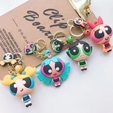 Cartoon Keychains Accessories Character Cute Powerpuff Girl Action Figure Key Chains Couple's Bag Pendant Creative Car Pendant