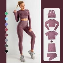 Conjunto de yoga sin costuras para mujer, ropa deportiva para entrenamiento, gimnasio, top corto de manga larga para ejercicio, mallas de cintura alta, 2/3/5 uds.