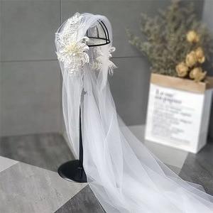 Image 3 - 120 centimetri super fata di colore di champagne del merletto cap stile velo della sposa bella filato morbido dei capelli della sposa accessori