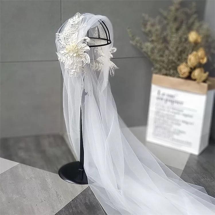 120cm Bride's Wedding Retro Champagne Color Lace Cap-style Veil Headdress Super Fairy Beautiful Soft Yarn Bride Hair Accessories