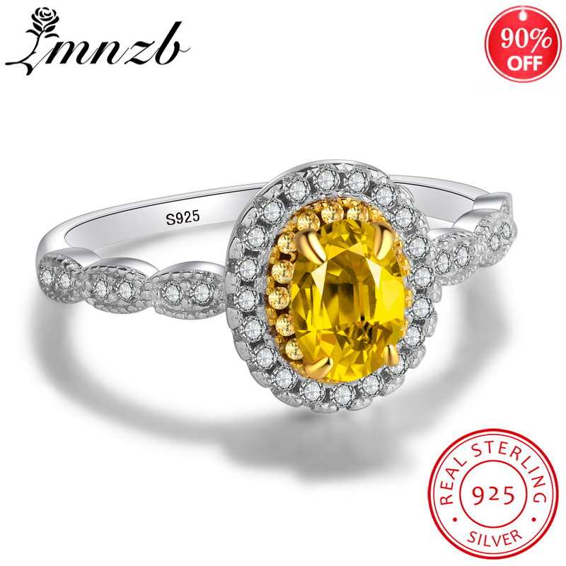 LMNZB модное желтое 5*7 мм овальное кольцо из фианита 925 пробы, свадебные ювелирные изделия, обручальное кольцо, подарок для женщин LR231