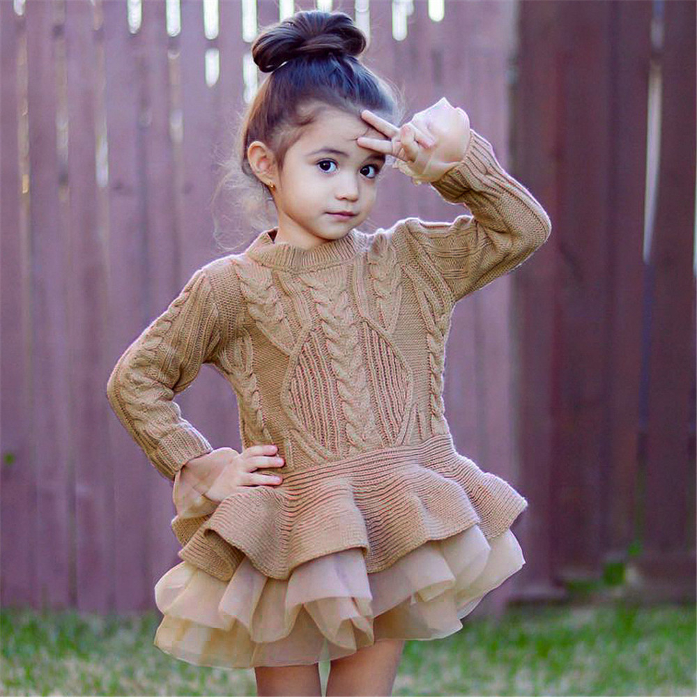 LILIGIRL Autumn winter Baby Girls Long Sleeve Sweater Cute Dress Pullover Knitted Keep warm Outerwears Puff Princess Dresses in Dresses from Mother Kids