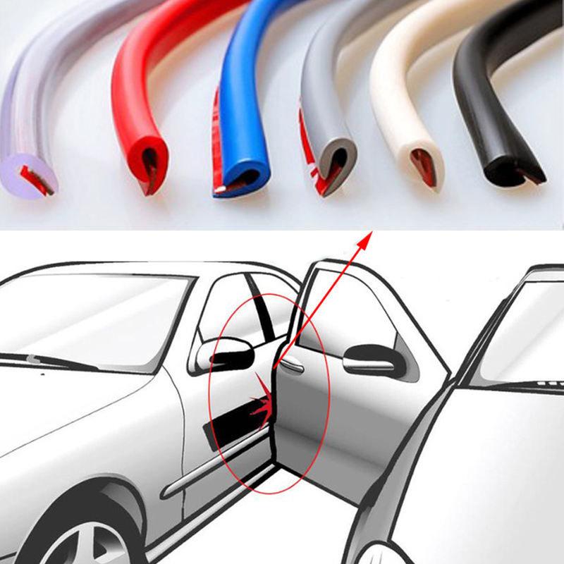 5M/Set Car Door Edge Rubber Scratch Protector Anti Collision Scratch Protection Car Door Rubber Sealing Strips Sticker