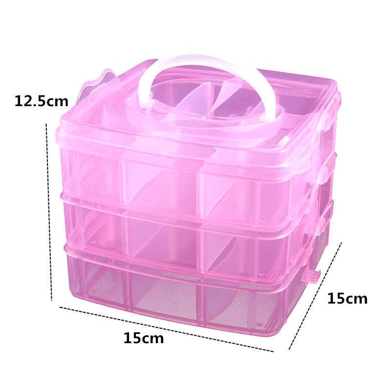 1 قطعة 3 طبقات واضح صندوق مجوهرات لتقوم بها بنفسك صندوق تخزين مكتبي واضح البلاستيك التخزين المنظم الحرف الخرز حالة دروبشيبينغ