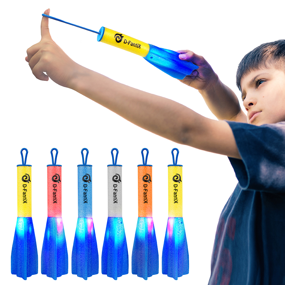 D-FantiX LED Foam Finger Rockets, Slingshot Flying Rocket Toy For Kids Outdoor Camping Glow Up Party Favors Gift Pack Of 6 With