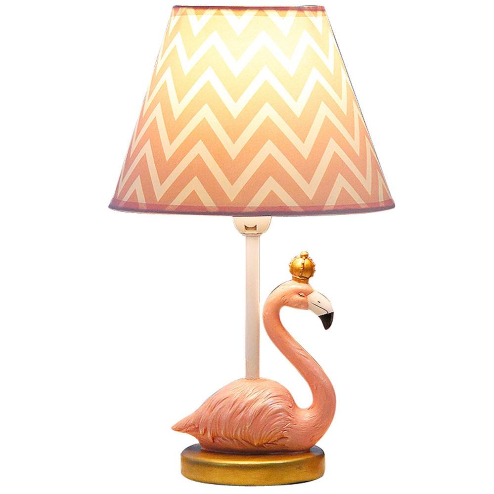Lampe de table de chambre d'enfant flamant rose résine nordique décoration de mariage lampes de chevet pour chambre d'enfants luminaires animaux