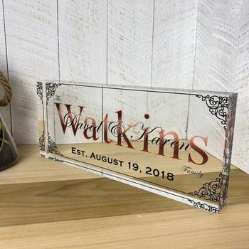 Unique Personalized Acrylic Glass,Wedding Gift,Established Date,Last Name Sign,Family Name Sign,Wedding Sign,Custom Sign