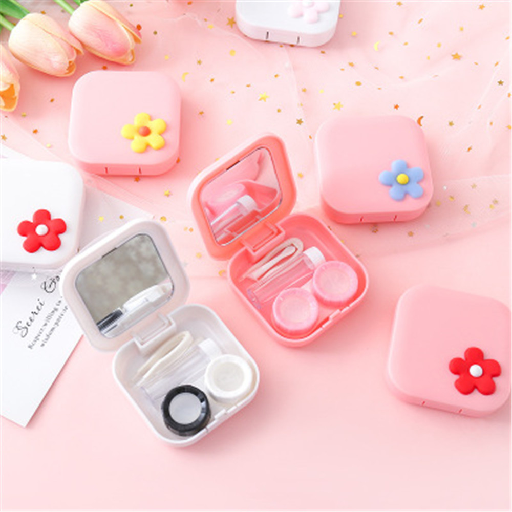 New Fashion Women Men Cartoon Cute Flower Soaking Storage Contact Lens Case Portable Travel Glasses Lenses Box Eyes Care Tool